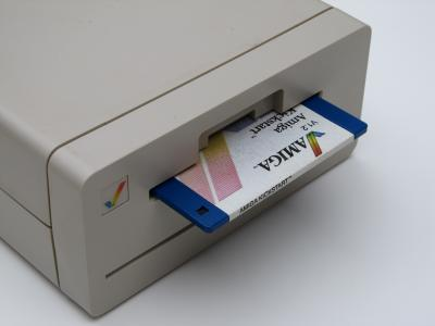 Close-up photo of the Amiga 1010 External Disk Drive and Kickstart disk