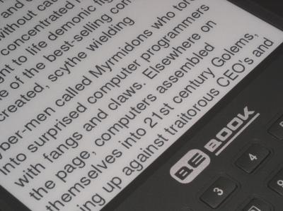 A close-up photo of an BeBook eBook Reader
