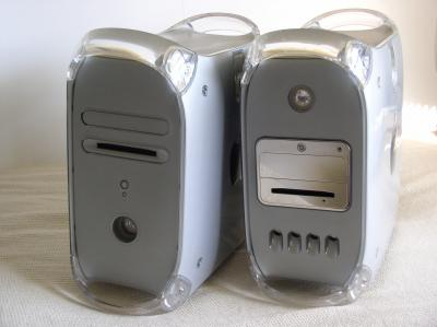 Photo of two Apple G4 Power Macintoshes. The Quicksilver and MDD.